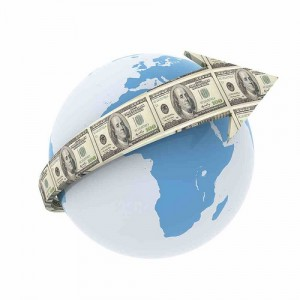 money arrow globe